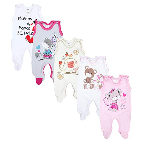 TupTam Unisex Baby Strampler mit Aufdruck Baumwolle 5er Set, Farbe: Mädchen 2, Größe: 62