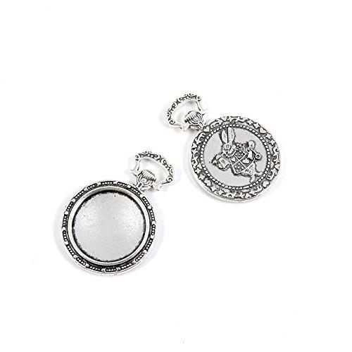 Abalorio de plata envejecida L5AH7G para reloj de bolsillo, diseño de cabujón...