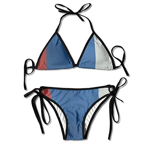 Hoklcvd Women's Russian Flag Sexy Bikini Swimsuit Suit Set Triangle Swimwear