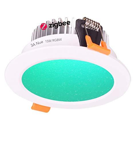 ZigBee RGBW - Juego de bombillas LED de 15 W con Echo Plus y puente ZigBee compatible con Smart Home Automation Google Home Amazon Echo Dot Echo Plus Alexa Voice Control