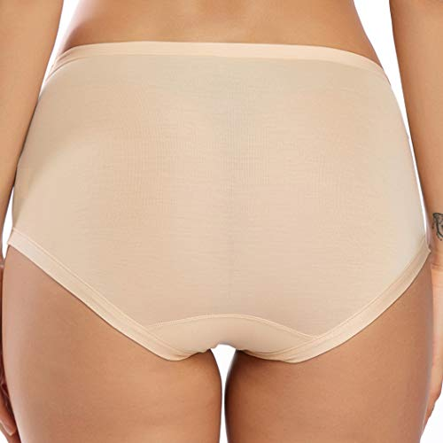 WOWENY Invisible Best Fitting Hipster Panties for Women Quick Dry Breathable Travel Underwear 2 Pack (Nude, XL)