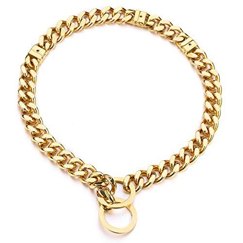 Adjustable 18K Gold Dog Collar Slip Choker Stianless Steel 15mm Big Dog Puppy Necklace Choke Chain Training Collar Cuban Link for Big Small Dog S/M/L (S)