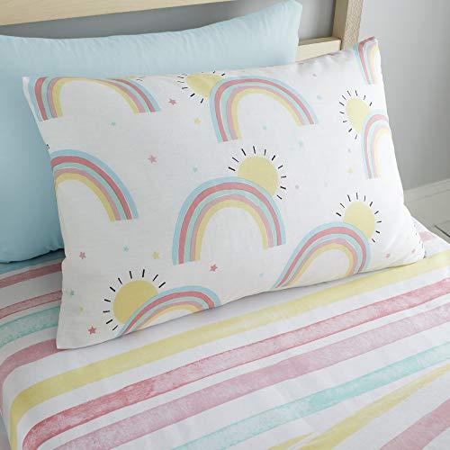Happy Linen Company Mädchen Einzelbett-Spannbettlaken - Regenbögen & Sonnen - Weiß