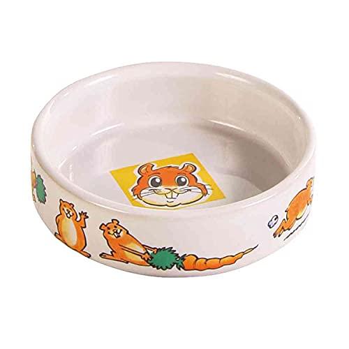 Trixie 62951 Keramiknapf mit Motiv für Hamster, 90 ml/ø 8 cm, weiß