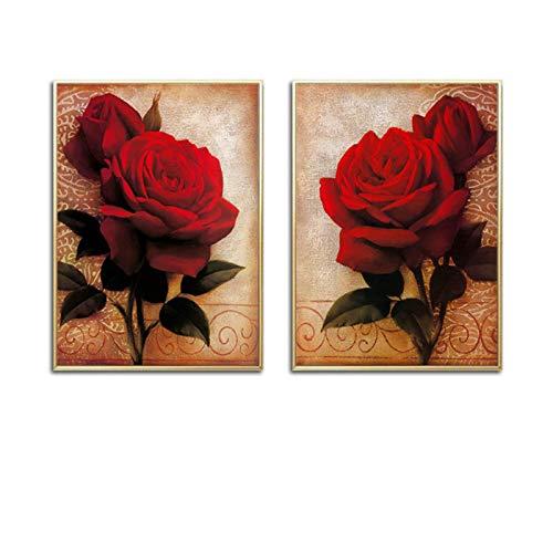 Mural Cartel Romántico De La Flor De La Rosa Roja Decoración Para El Hogar Pinturas Lienzo Arte De La Pared Regalo Del Día De San Valentín Para La Sala De Bodas Hogar-16X20Inx2 Sin Marco