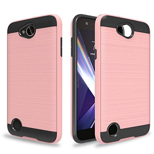 Ayoo Compatible with LG Optimus Zone 3 Case,LG K4 Case,LG K4 Gray Case,LG Spree Case, LG K4 LTE/LG Rebel LTE/VS425PP/Optimus Zone 3 VS425PP/ K4 2016 Case,Brushed Texture Case for LG K4-ZS Rose Gold