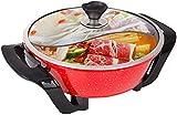 BBQ Smokeless Grill Pan Cucina elettrica multifunzione con coperchio in vetro, pentola da cucina integrata, pentola calda elettrica, griglia elettrica barbecue, controllo della temperatura regolabile,