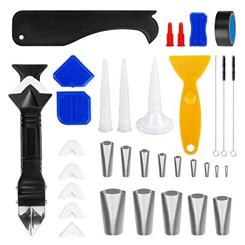 Yideng - Set di 35 ugelli per presafataggio 3 in 1, per la finitura del sigillante in silicone, strumento per la rimozione del caulk, per cucina, bagno, finestra, lavandino