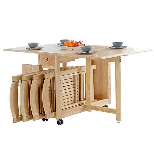 sknonr Multifuncional Plegable Mesa de Comedor y sillas Combinación Ampliable de alas abatibles Escritorio de Madera Rectangular de Oficina, Equipada con Ruedas