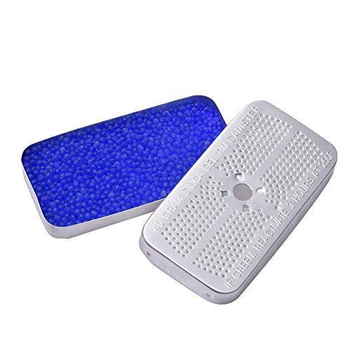 Deumidificatore di gel di silicio da 5 pezzi, contenitori di detersivi in alluminio riutilizzabili da 50 g, assorbimento dell'umidità sicuro per auto, armadietto.