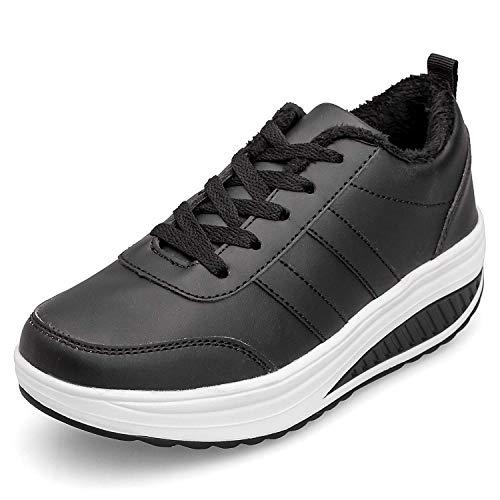 Zapatos Deporte Mujer Nieve Zapatillas de Deportivos Zapatos para Caminar Gimnasia Ligero Sneakers Invierno Plataforma Botas de Botines 37.5EU = Fabricante:38 Negro
