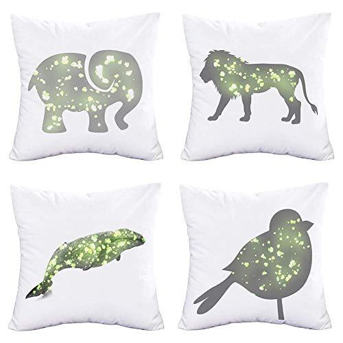 Easternproject - Juego de 4 fundas de almohada para el día de San Patricio, diseño de elefantes, pájaros, ballena de león con trébol verde