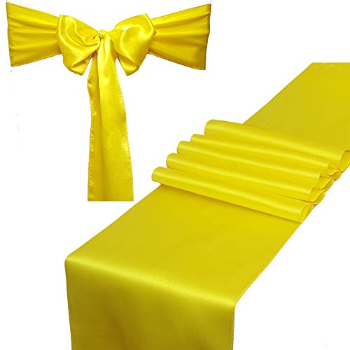 Combo Pack - 2 Satin Table Runners 12 x 108 inch & 10 Chair Sashes for Wedding Banquet Decoration, Bright Silk and Smooth Fabric Party Decor (Combo 2 Table Runner + 10 Chair Saches, Lemon Yellow)