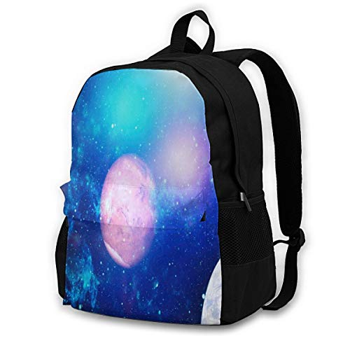 Laptop Backpack Amazing Planet,Solar System, Starry Sky, Galaxy, Space Large Travel School College Backpack Bag Bookbags,Black