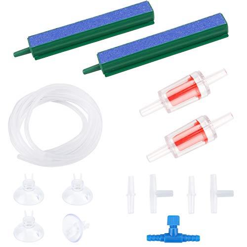 Accessoires pour pompe à air d'aquarium - bulles d'air avec déverrouillage des bulles d'air - raccords - ventouses pour aquarium - tuyau de 2,2 m - clapet anti-retour - interrupteur principal.