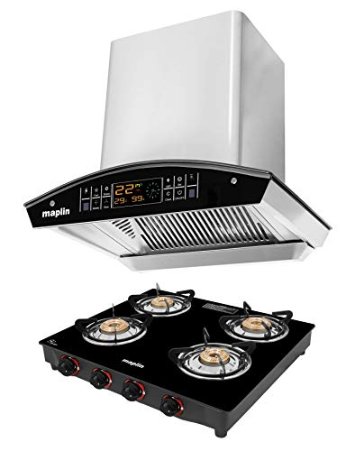 Maplin Combo of Kitchen Chimney in 60 cm (Silver) and Gas Stove Four Burner (Mannual)