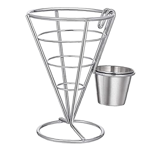 NIDONE French Frie Rack Stainless steel French Frie Rack with Diner Sauce Cup for kitchen, restaurant party supplies