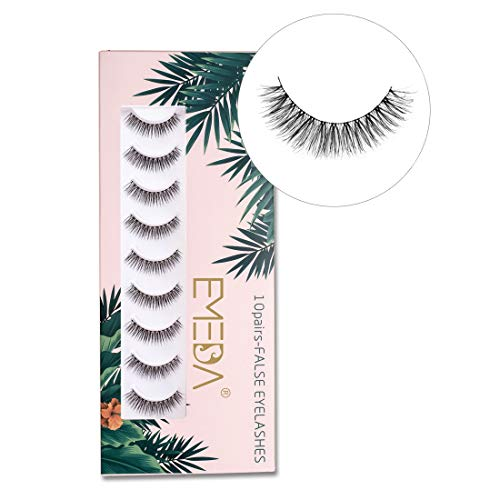 10 pairs False Eyelashes Natural Look 3D Small Face Eyelashes Short Soft Fake Lashes 100% Handmade Lashes Wispies Reusable Eye Lash Transparent Band 1 Pack with Applicators by EMEDA