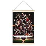 Marco para póster colgante de Happy Birthday Fc Barcelona, con diseño de pergamino de lienzo para pared, decoración del hogar, 50,8 x 76,2 cm