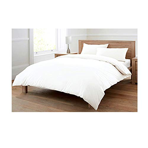 Euphoric Gifts 100% Pure Cotton (Egyptian Cotton) 4 Piece Complete DOUBLE Duvet Cover Bed Set in Plain White – Includes x1 Duvet Cover x2 Pillowcases and x1 Fitted Sheet (White, Double)