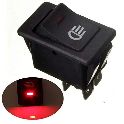 Momentáneo interruptor de botón Dash LED interruptor del salpicadero del coche universal 4Pin Barco Van luz de niebla Rocker Empuje el interruptor de botón (Color : Red)