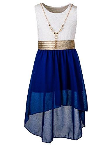 Unbekannt Kinder Sommer Fest Kleid für Mädchen Sommerkleid Festkleid mit Kette in vielen Farben M288wbl Weiss Blau Gr. 8/116 / 122