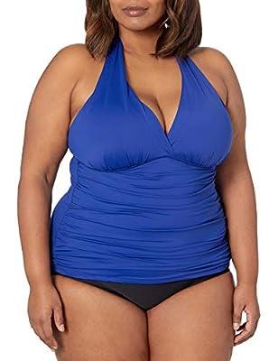 La Blanca Women's Plus Size Island Goddess Rouched Front Halter Tankini Swimsuit Top, Blueberry, 22W