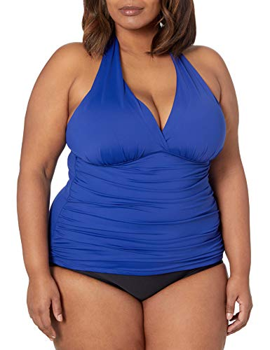 La Blanca Women's Island Goddess Rouched Front Halter Tankini Swimsuit Top, Blueberry, 34D