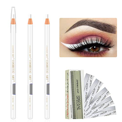 Freeorr 3 Pcs Microblading White Eyebrow Pencil,Smooth Draw Eyebrow Peel-off Pencil Waterproof Eyebrow Pencil Augenbrauen Tattoo Pen,with 10 Eyebrow Trimming Blade