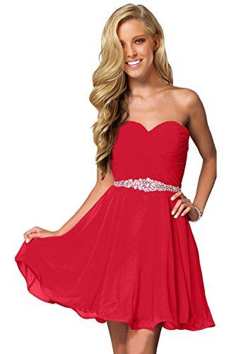 Milano Bride Damen Liebling Chiffon Herzform Kurze Abendkleid Heimkehrkleider Abschlusskleid Strass Pailette40-Rot