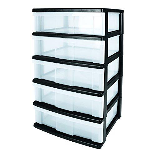 Iris WC-N605P breiter Schubladencontainer mit 5-Schüben, Plastik, schwarz, 60 x 41 x 103 cm