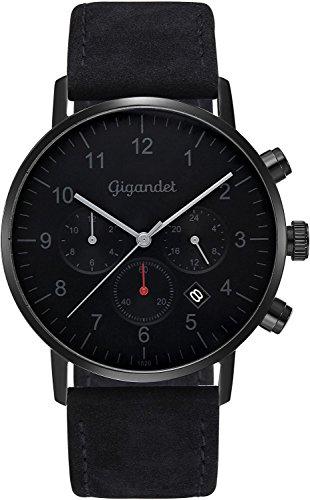 Gigandet herenhorloge minimalistisch dualtijdhorloge analoog met lederen armband G21-004