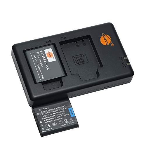NP-BK1 - Batería de repuesto y cargador dual compatible con Sony Bloggie MHS-CM5, MHS-PM5, Cyber-Shot DSC-S750, S780, S850, S950, S980, W180, W190, W370, Webbie MHS-PM1, etc.