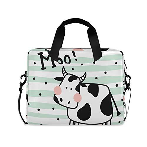 iRoad 15.6 InchLaptop Bag Case Cow Stripe Polka Dot Pattern Computer Case Laptop Sleeve Case with Shoulder Strap Bag for Women Men