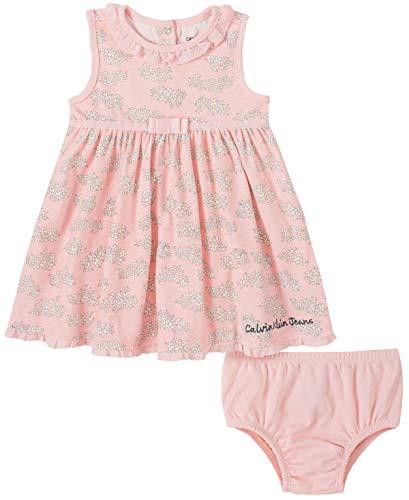 Calvin Klein Baby Girls' 2 Pieces Dress Set, Equator Pink, 6-9 Months