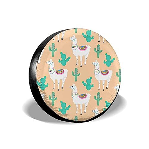 MODORSAN Llama Cacti Cactus - Cubierta Universal para Llantas de Repuesto, Protectores de Llantas Impermeables a Prueba de Polvo para Jeep, Remolque, RV, SUV y Camiones, 17 Pulgadas