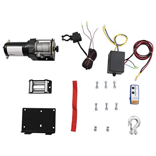 vidaXL Elektrische Seilwinde 1360kg 12V mit kabelloser Fernbedienung + Kabelfernbedienung Motorwinde Elektrowinde Winde Seilzug Elektroseilwinde