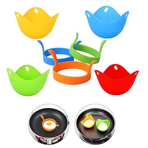 3 Pack Nonstick Silicone Egg Ring Pancake Mold + 4 Pack Egg Poacher Cups, Poached Egg Maker Set