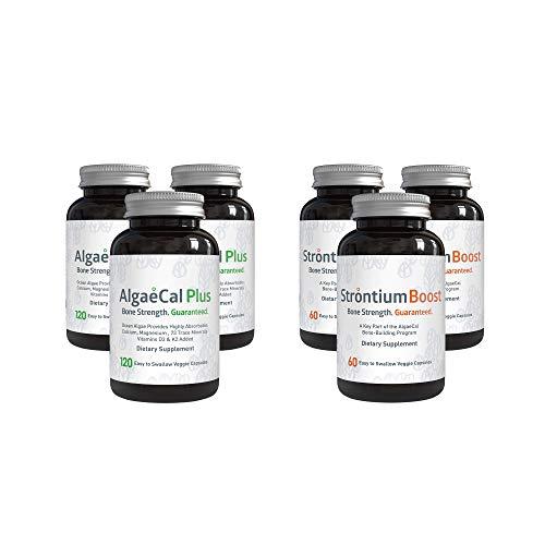 AlgaeCal Bone Builder Pack – Plant-Based Calcium Supplement with Magnesium, Boron, Vitamin K2 + D3 | Includes Strontium Boost | Naturally Increase Bone Density (3 Month Supply)