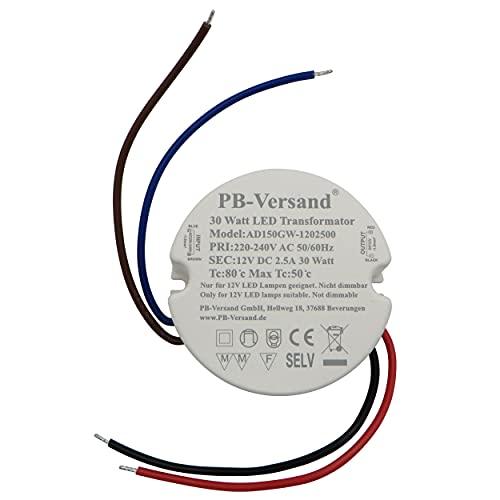 PB-Versand LED Trafo 30 Watt 12V DC rund Kreis Leuchtmittel Transformator Netzteil Driver Vorschaltgerät