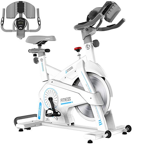 Afully Indoor Cycling Bike, Exercise Bikes Magnetic Resistance Stationary Bike, Belt Drive Indoor Bike with Pad/Phone Mount for Home Cardio Workout (ivorywhite)