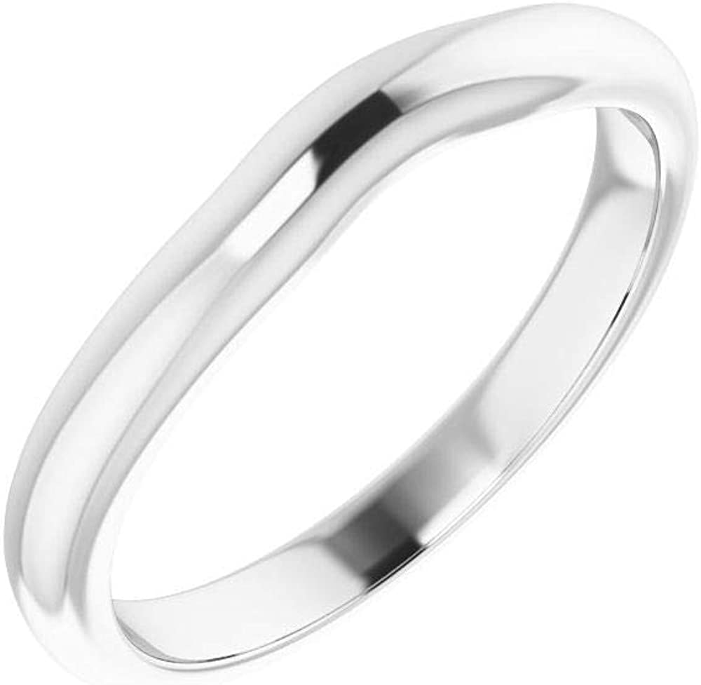 trust Solid 10K White Gold Curved Super sale Notched Ri Band Wedding 4mm for