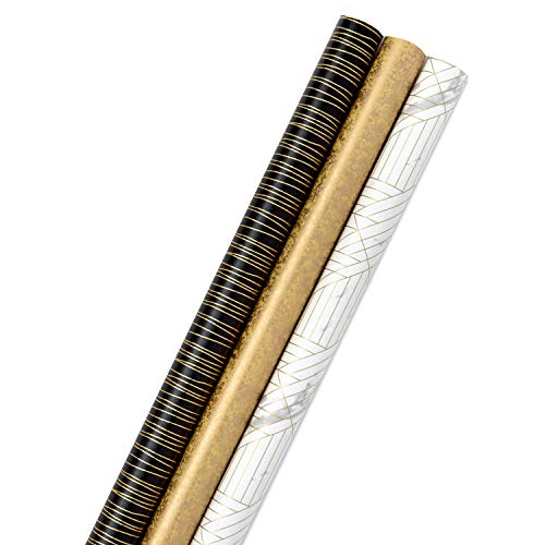 Hallmark Premium Wrapping Paper Bundle with Cut Lines on Reverse - Marble, Sparkly Black, Antiqued Marigold (3-Pack: 85 sq. ft. ttl.) for Christmas, Graduations, Birthdays, Weddings, Bridal Showers