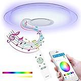Lámpara De Techo LED Música con Altavoz Bluetooth Y Control Remoto App, Plafon Techo Regulable Y Que Cambia De Color...