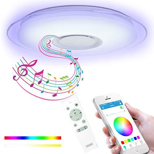 Lámpara De Techo LED Música con Altavoz Bluetooth Y Control Remoto App, Plafon Techo Regulable Y Que Cambia De Color Compatible con Alexa para Sala De Estar, Comedor, Dormitorio,60w