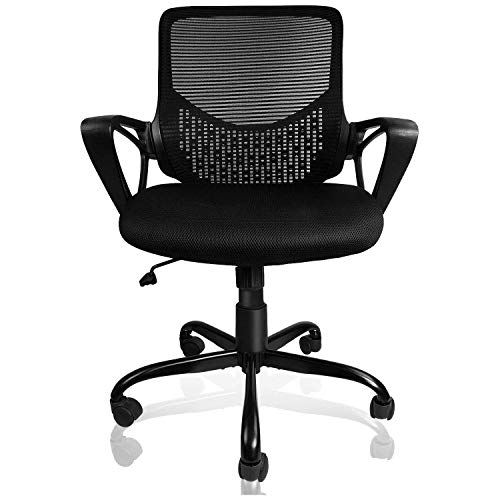 SmugOffice Office Chair, Computer Desk Chairs for Conference Room Home Office with Armrests Ergonomic Lumbar Support Comfortable Mesh Task Chair, Black