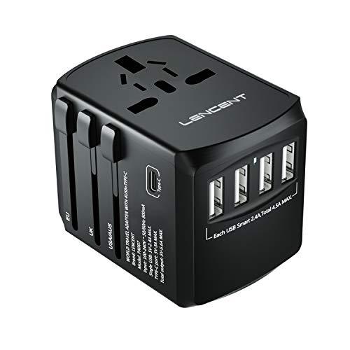 LENCENT Adaptador Enchufe De Viaje Universal, Cargador de Pared USB Internacional de 4 Puertos y Tipo C para EEUU/UK/EU/AUS Más de 200 Países para Teléfonos, Tabletas, Cámara y más