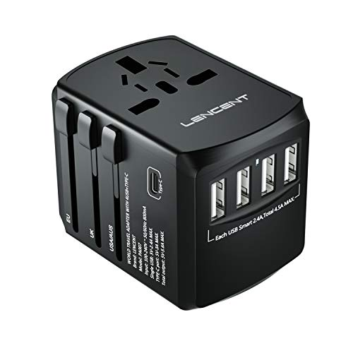 LENCENT Adaptador Enchufe De Viaje Universal, Cargador de Pared USB Internacional de...