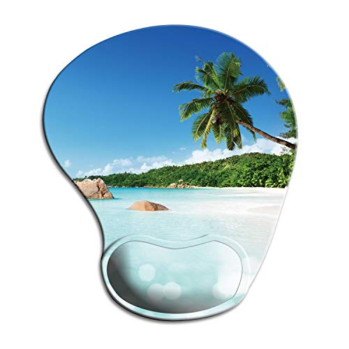 Dooke Ergonomic Mouse Pad with Wrist Support, Cute Mouse Pads with Non-Slip Rubber Base for Home Office Working Studying Easy Typing & Pain Relief Beach
