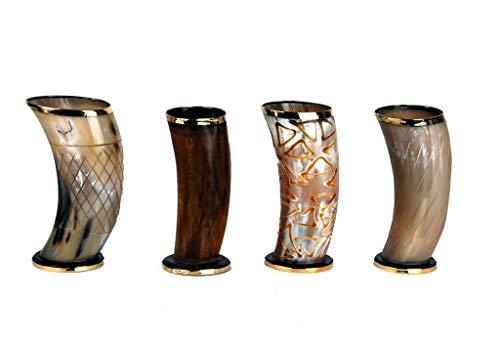 Juego de 4 tazas de 15,2 cm con diseño de cuerno vikingo, para cerveza, vino, carne
